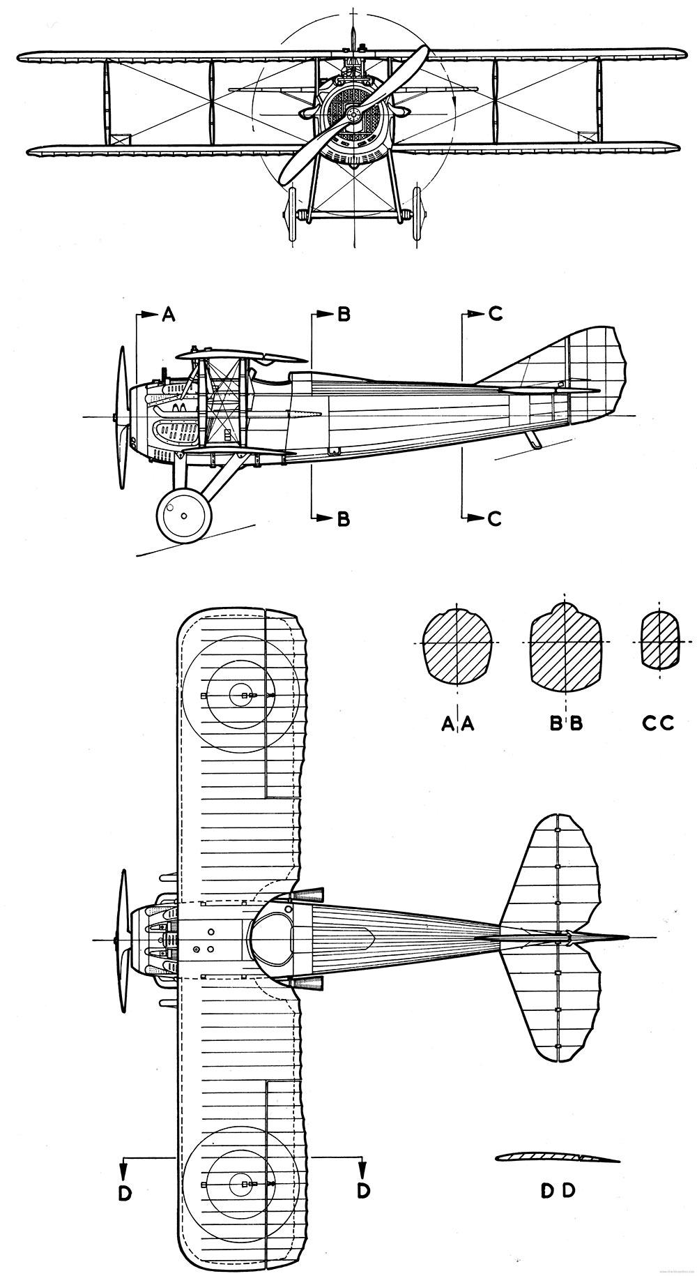Чертеж истребителя SPAD S.7