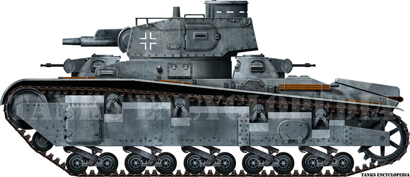 Крупповский многобашенный танк «Neubaufahrzeug» в профиль