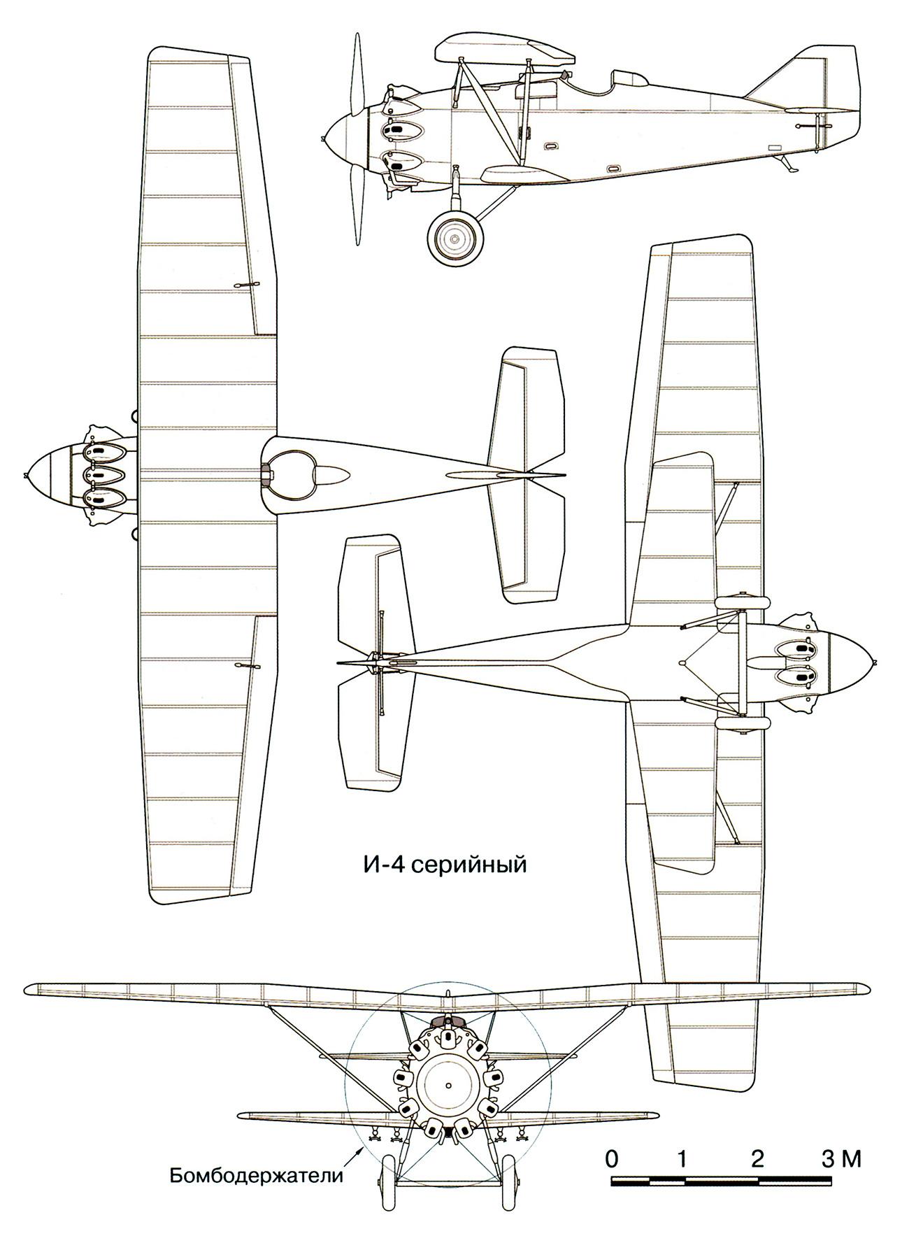 Чертеж истребителя И-4 (АНТ-5) конструкции П.О.Сухого