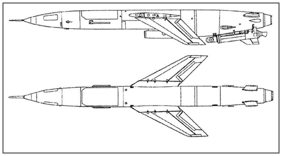 Чертеж «главного калибра» дизельной подводной лодки Проекта 644, крылатой ракеты П-5.
