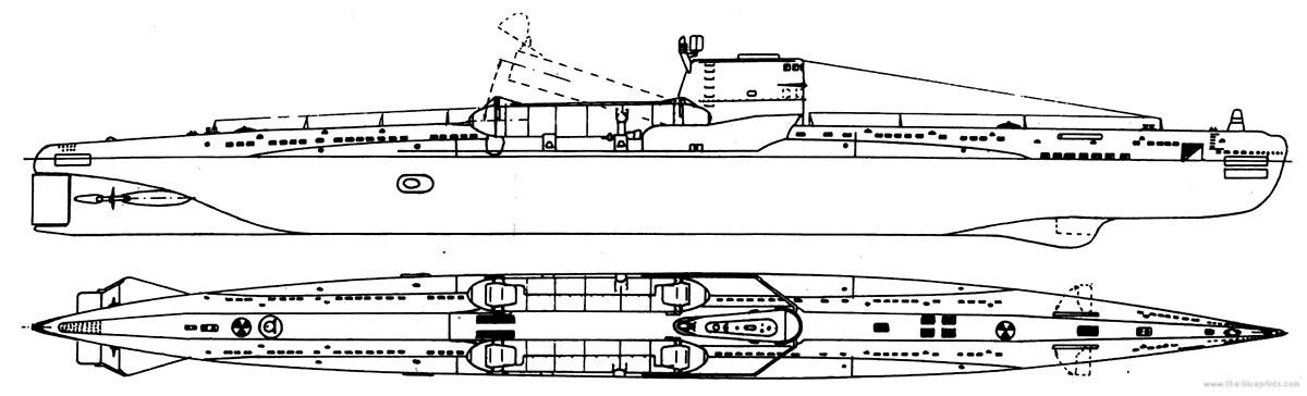 Чертеж дизельной подводной лодки Проекта 644.