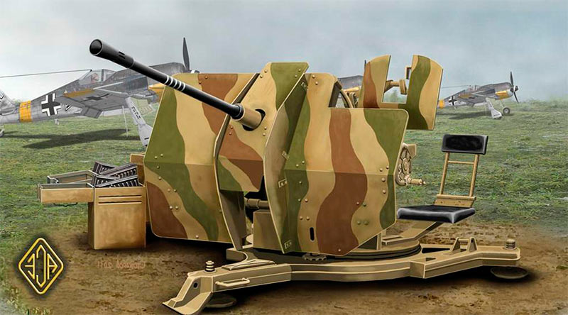 На рисунке можно хорошо рассмотреть внешний вид лафета и местро стрелка 20-мм зенитной пушки FlaK 30/38