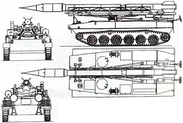 Чертеж-схема самоходной пусковой установки 2П16 ракетного комплекса 2К6 «Луна»