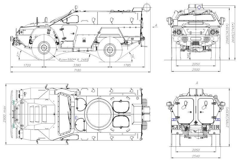 Чертеж-схема бронеавтомобиля КамАЗ-43269 «Выстрел» (БПМ-97)