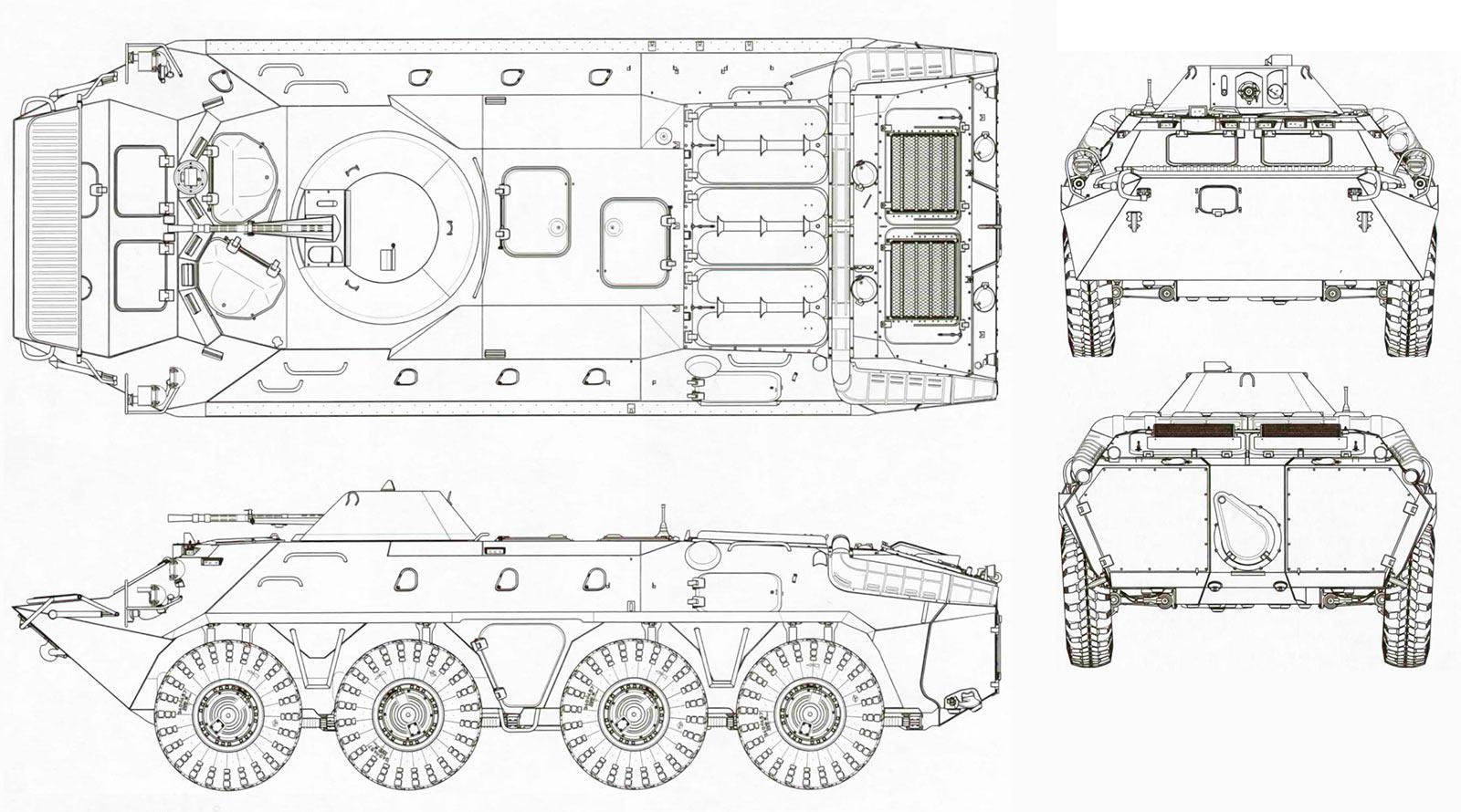 Чертеж бронетранспортера БТР-70