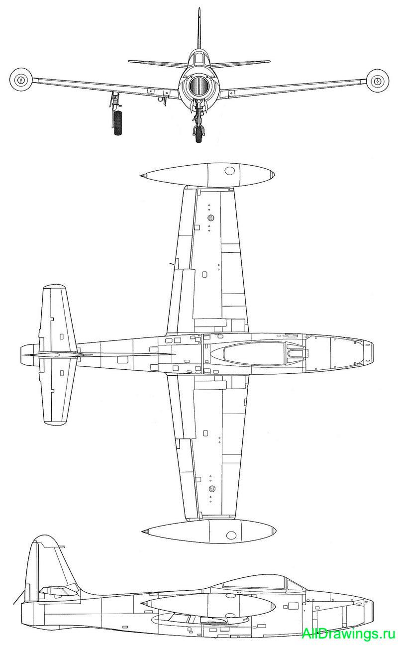 Чертеж истребителя F-84 (P-84) «Thunderjet»