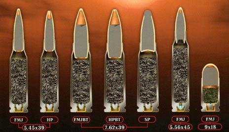 Наглядное сравнение внутреннего устройства патронов разных калибров