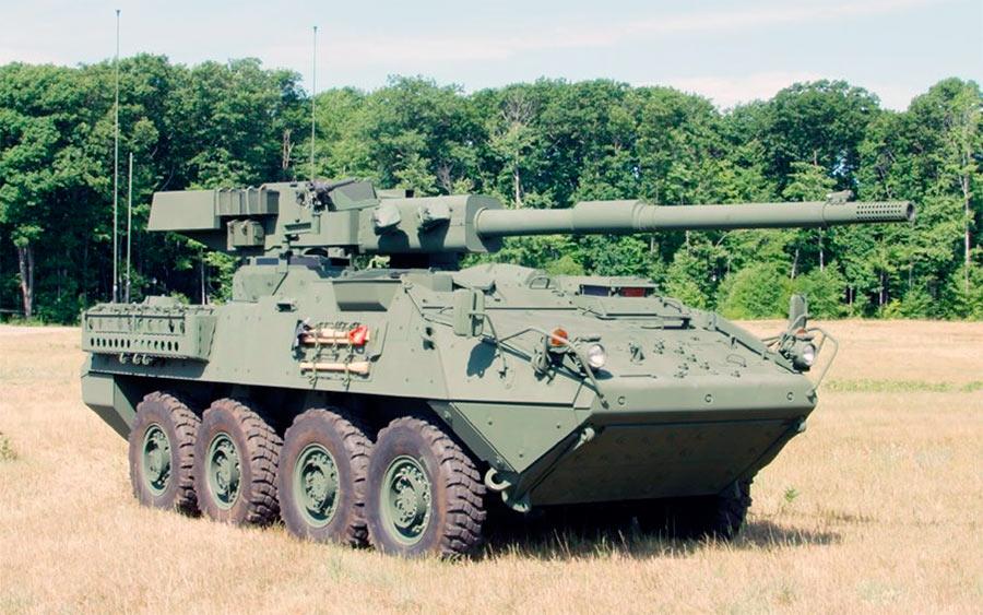Stryker M1128 MGS - американский колесный танк, задача которого - поддержка своих «побратимов» - «Страйкеров» в комплектации БТР