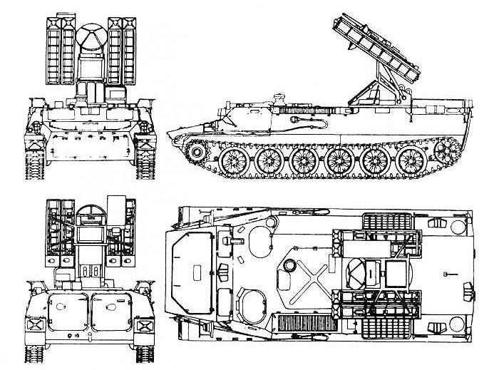 Чертеж самоходного зенитного ракетного комплекса «Стрела-10» 9К35