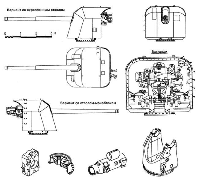 Схема-чертеж 130-мм артиллерийской установки Б-13
