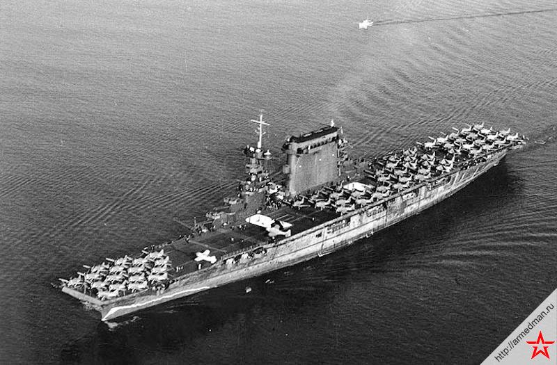 Авианосец «Ленгсингтон» типа «Саратога» в Сан-Диего, октябрь 1941 г.
