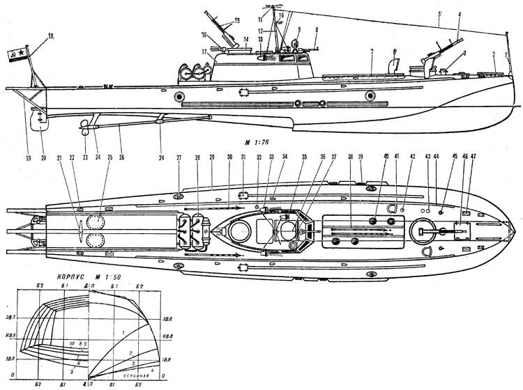 Чертеж-схема торпедного катера типа Ш-4