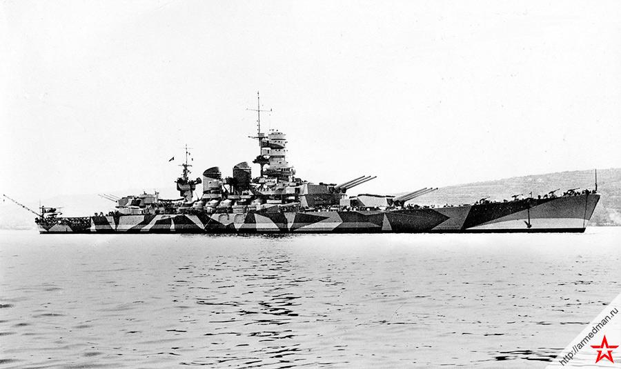 Линкор «Rome» типа «Littorio» - один из мощнейших и красивейших кораблей итальянского флота времен Второй Мировой войны