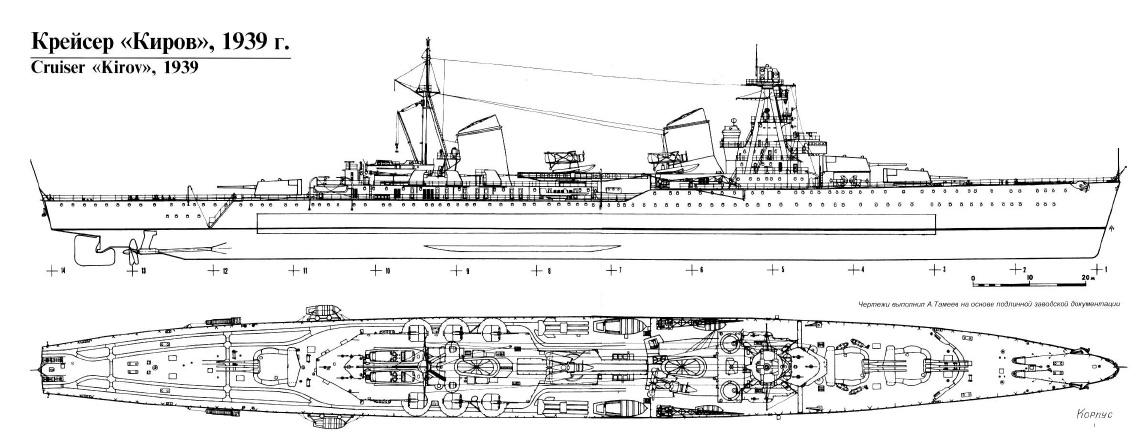 Чертеж-схема легкого крейсера «Киров» проекта 26