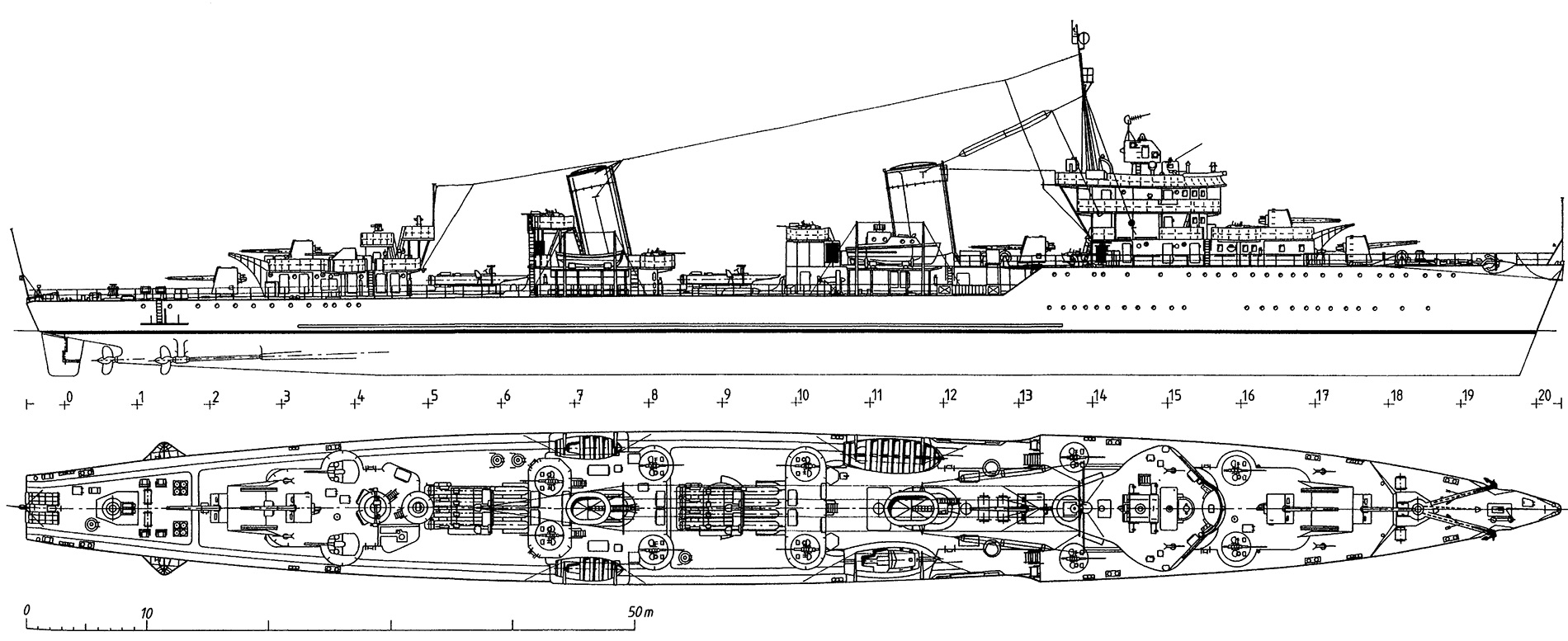 Чертеж лидеров эсминцев типа «Ленинград» (Проект 1)