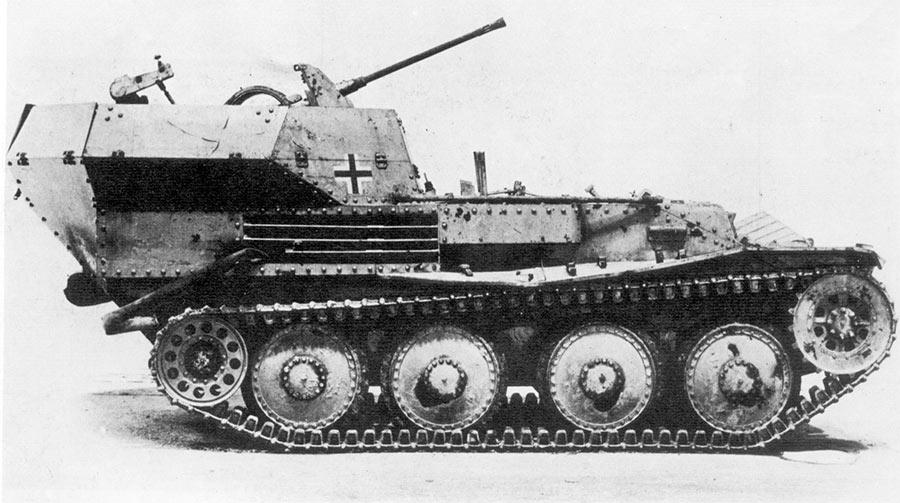 Зенитная самоходная установка Flakpanzer 38 (t), вид сбоку