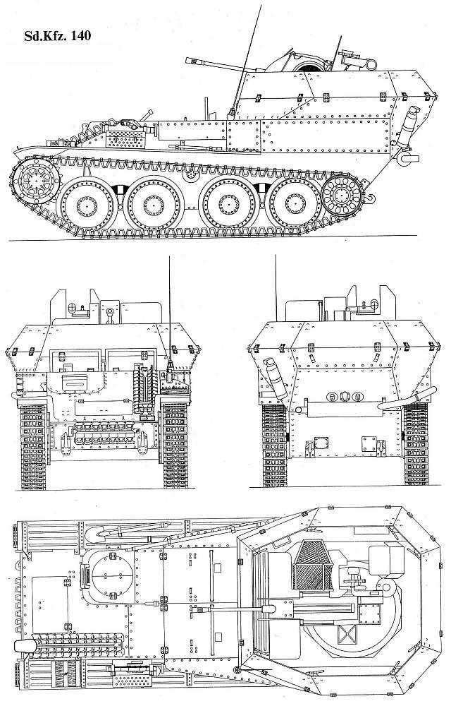 Чертеж немецкой ЗСУ Flakpanzer 38 (t)