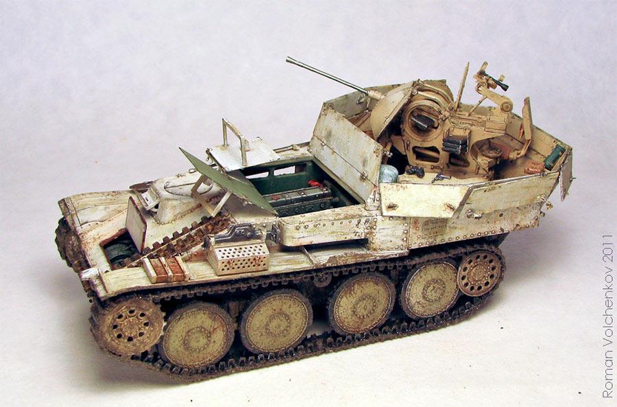 Зенитный танк Flakpanzer 38 (t), вид сверху-спереди (модель)