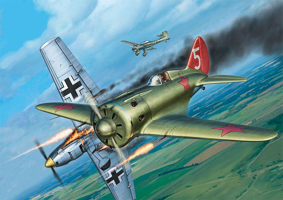 Сцена воздушного боя между И-16 и Ju-87