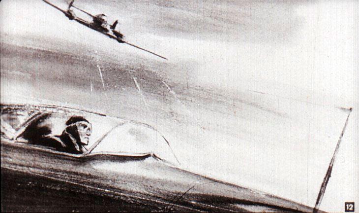 Эпизод памятного боя летчика Захара Сорокина