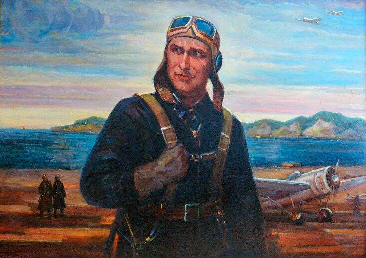 Портрет летчика-истребителя Бориса Сафонова, холст, 1985 г.
