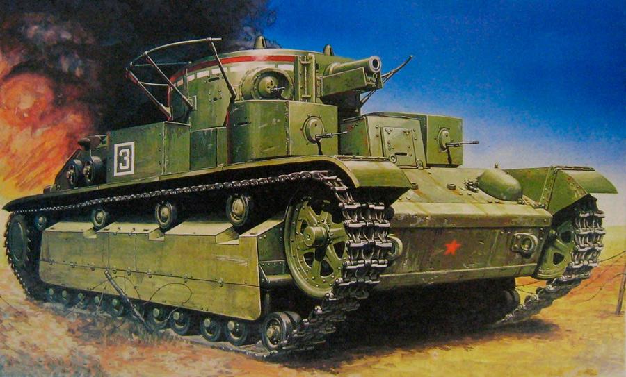 Т-28 - хотя танк и был чисто советским, сделан он под впечатлением от британского А6.