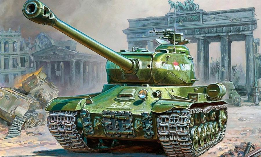 Танк ИС-2 обладает внушительным внешним видом и ещё более внушительным калибром в 122-мм.