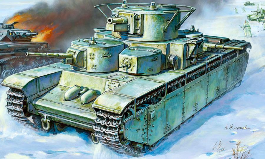 Тяжелый танк Т-35 - 5 башен, 3 орудия, 11 человек экипажа... и лишь 50 миллиметров брони