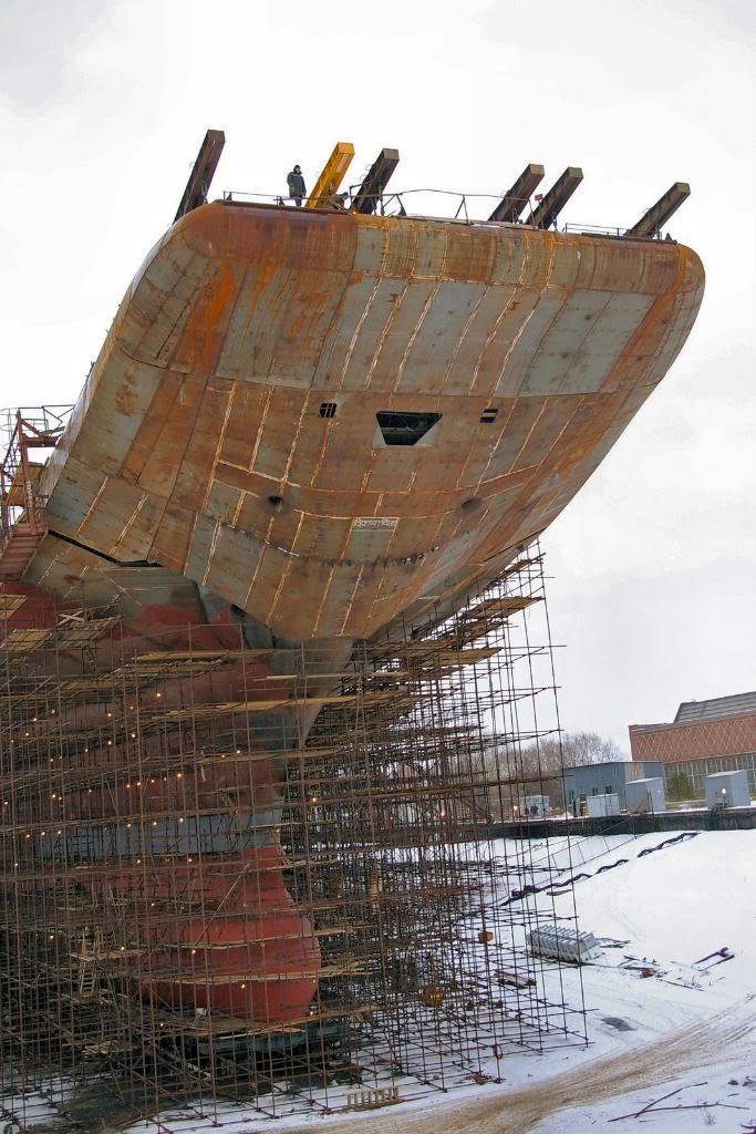 Носовая часть строящегося авианосца «Викрамадитья» (бывший «Адмирал Горшков»)