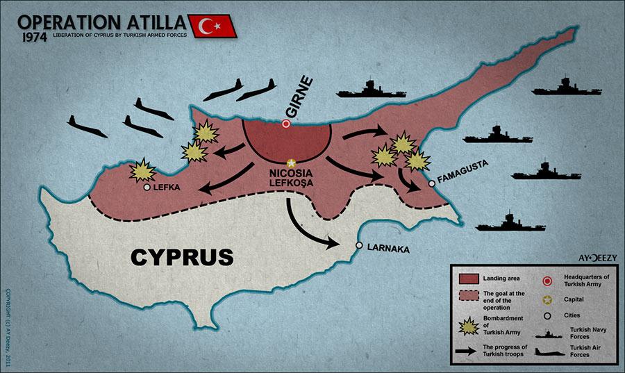 Схема турецкого вторжения на Кипр в 1974 г.