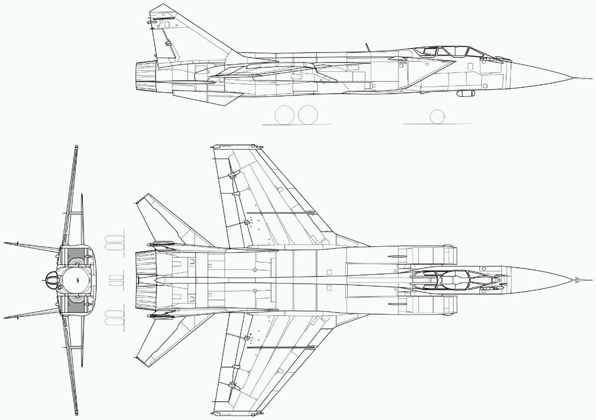 Чертеж истребителя-перехватчика МиГ-31