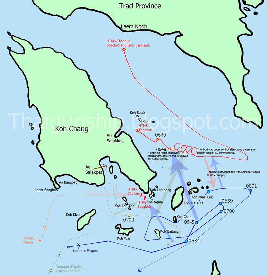 Схема боя у Ко-Чанга, 17 января 1941 г.