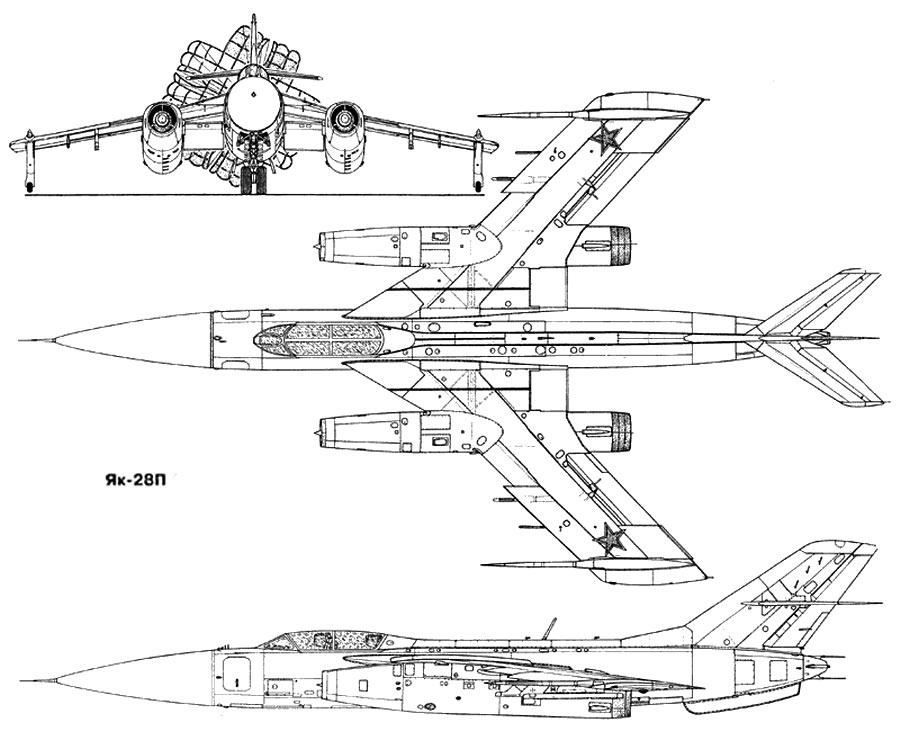 Чертеж истребителя-перехватчика Як-28П