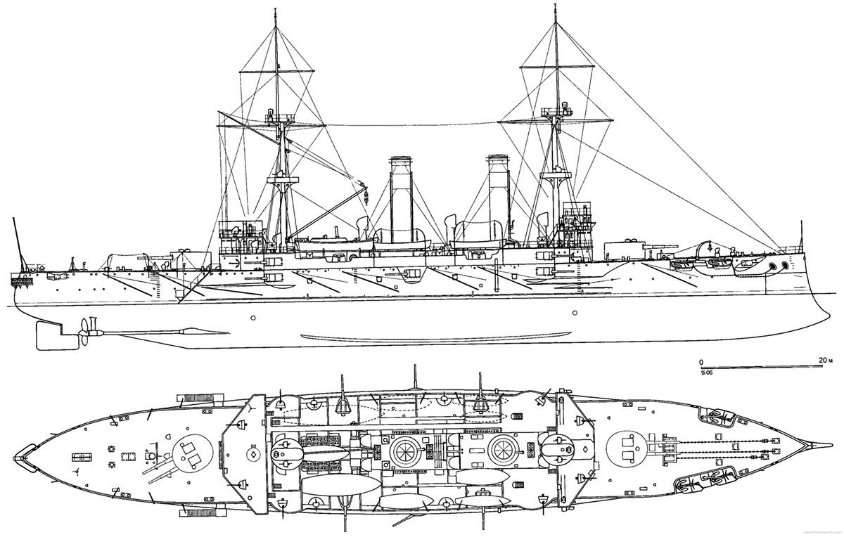 Чертеж броненосных крейсеров: «Асама» и «Токива»