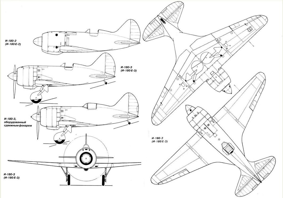 Чертеж истребителя И-180 конструкции Н. Поликарпова