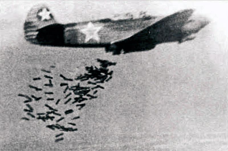 Сброс противотанковых авиабомб с кумулятивным эффектом (ПТАБ)