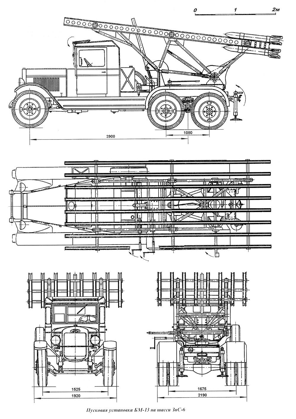 Чертеж боевой машины реактивной артиллерии БМ-13 Катюша