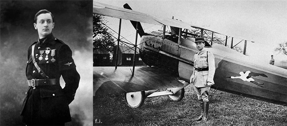 Французский воздушный ас Первой Мировой войны Жорж Гинемер, а справа - его истребитель SPAD-7 с эмблемой эскадрильи - аистом